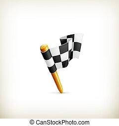 ベクトル, 旗, checkered, アイコン