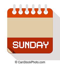 ベクトル, 日曜日のペーパー, カレンダー, イラスト