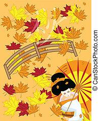 ベクトル, 日本語, 芸者, 上に, 秋, 背景