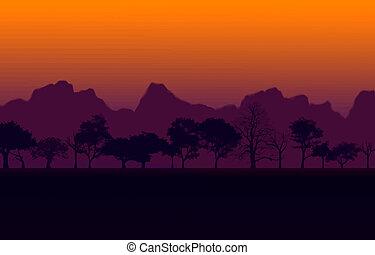 ベクトル, 日没, アフリカ