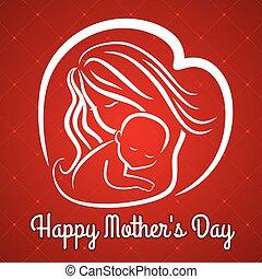 ベクトル, 日, お母さん, シンボル, baby., s, 挨拶, 母, カード, illustration.