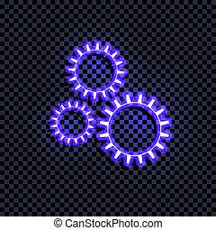 ベクトル, 明るい青, 白熱, ギヤ, アイコン, 隔離された, 上に, 暗い, 透明, 背景, coorful, 印, ∥で∥, shadow.