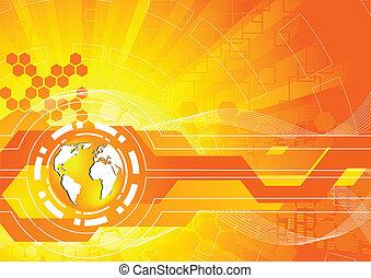 ベクトル, 明るい, オレンジ背景