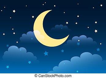 ベクトル, 星が多い空, バックグラウンド。, illustration., 夜, 漫画