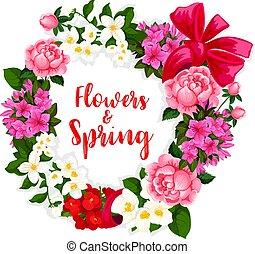 ベクトル, 春の花, 花輪, 花束