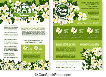 ベクトル, 春, デザイン, 時間, 花, ポスター