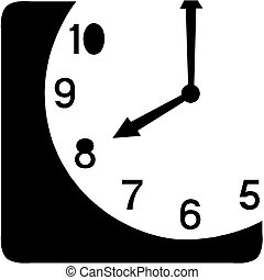 ベクトル, -, 時計, アイコン, 顔