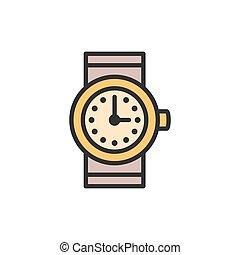 ベクトル, 時計, 平ら, icon., 線, 腕時計, 色