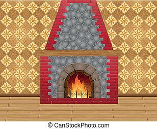 ベクトル, 暖炉, 部屋