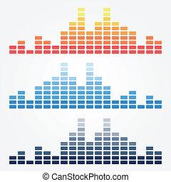 ベクトル, 最小である, 音波, アイコン