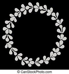 ベクトル, 月桂樹, 白, 花輪, 黒
