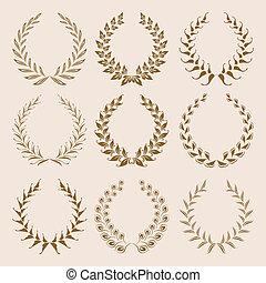 ベクトル, 月桂樹, wreaths., セット, 金