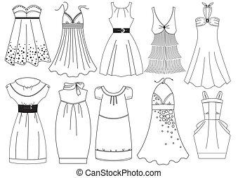 ベクトル, 服, 女, white.fashion, 衣服