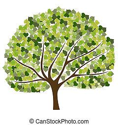 ベクトル, 木, カラフルである, 背景
