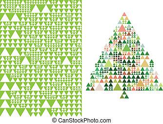 ベクトル, 木, クリスマス, パターン