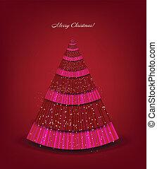 ベクトル, 木。, クリスマス, 背景, 赤