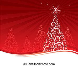 ベクトル, 木, クリスマス, 背景, 赤