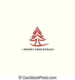 ベクトル, 木, クリスマス, 赤, illustration.