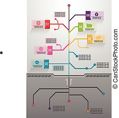 ベクトル, 木, ビジネス, infographics