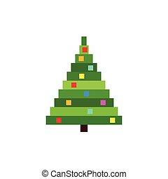 ベクトル, 木。, ピクセル, クリスマス