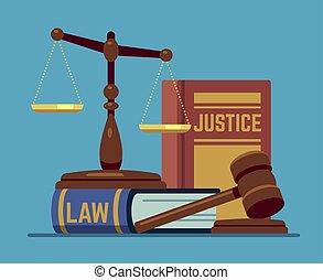 ベクトル, 木, 概念, スケール, 正義, books., 立法, 法的, 木製である, コード, 権威, 裁判官, 法律, ハンマー, gavel.
