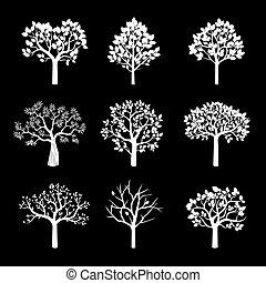 ベクトル, 木。, 白, セット, illustration.