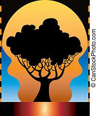 ベクトル, 木, 背景