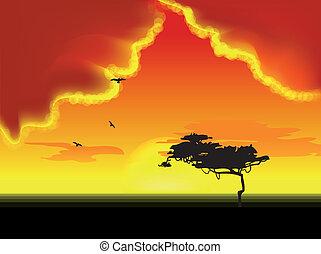 ベクトル, 木, horizon., 風景
