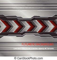 ベクトル, 未来派, 背景, 金属
