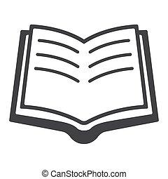 ベクトル, 本を 開けなさい, イラスト, アイコン