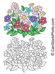 ベクトル, 本, 着色, illustration., flower.