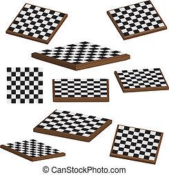 ベクトル, 板, セット, チェス, 3d