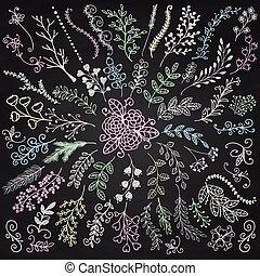 ベクトル, 板, メニュー, 手, sketched, 無作法, 花, ブランチ