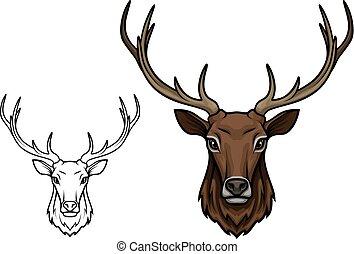 ベクトル, 枝角, 隔離された, 口輪, 鹿, アイコン, スケッチ