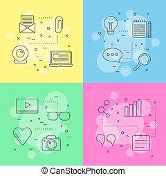 ベクトル, 概念アイコン, イラスト, blog, infographic, 線