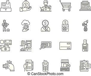 ベクトル, 概念, アウトライン, セット, アイコン, イラスト, コスト, 2, 線, サイン