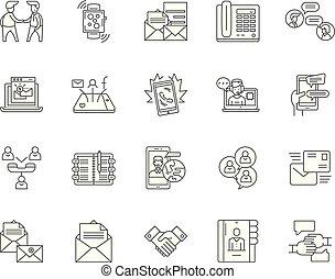 ベクトル, 概念, アウトライン, セット, アイコン, イラスト, 連絡, 線, サイン