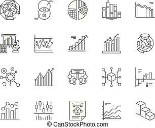 ベクトル, 概念, アウトライン, セット, アイコン, イラスト, infographic, 線, サイン