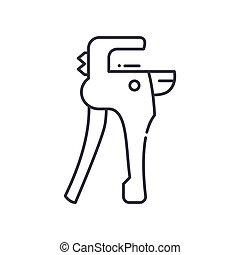 ベクトル, 概念, カッター, パイプ, デザイン, 線, 白, シンボル, アウトライン, editable, 網, プラスチック, アイコン, 隔離された, ストローク, イラスト, バックグラウンド。, 印, 線である, 薄くなりなさい