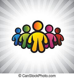 ベクトル, 概念, カラフルである, &, graphic-, 抽象的, le, メンバー, チーム