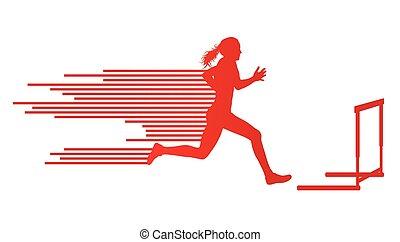 ベクトル, 概念, トラック, 運動選手, フィールド, 女, 背景, 飛び越すこと