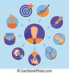 ベクトル, 概念, ビジネス, -, の上, 始めなさい, infographic