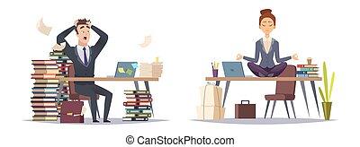 ベクトル, 概念, ビジネス, 組織化された, 2, businesspeople, パニックに陥る, 期限, ビジネスマン, woman., タイプ