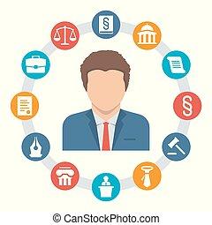 ベクトル, 概念, 弁護士, 法律, アイコン