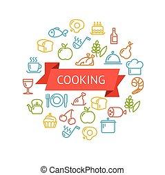 ベクトル, 概念, 料理, アウトライン
