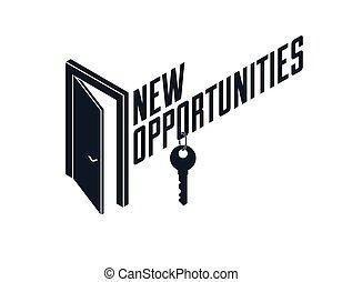 ベクトル, 概念, 秘密, 開いた, allegory., ステップ, 半分, 未来, ドア, 神秘的, ビジネス キャリア, 機会, 比喩, ∥あるいは∥, 始めなさい, 新しい