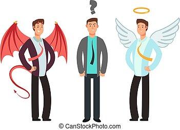 ベクトル, 概念, 肩。, 天使, 上に, 混乱させられた, 悪魔, 選びなさい, ビジネスマン