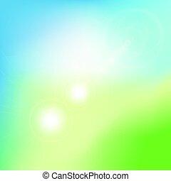 ベクトル, 概念, 背景。, 自然, 勾配, 抽象的, グラフィック, flare., ぼんやりさせられた, エコロジー, 緑の背景, デザイン, あなたの, illustration.