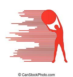 ベクトル, 概念, 若い, ボール, 女, 背景, フィットネス, スポーツ, 練習