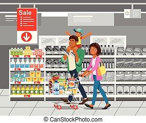 ベクトル, 概念, 買い物, 漫画, 家族